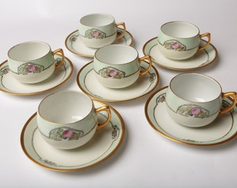 Hutschenreuther-like D& B Germany, Set of 6 Tea Cups