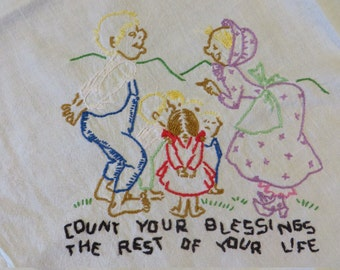 """Embroidery Hand Stitched   //  """"Count Your Blessings The Rest of Your Life""""  //  Man Woman and 5 Children"""