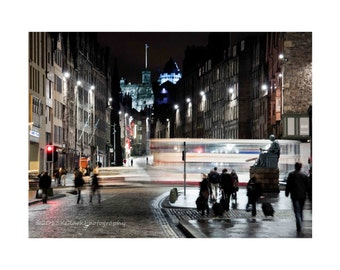 Edinburgh Night.Fine Art Photography.Scotland.Night photography.Street Photography.City.Motion.Blur.travel photography.royal mile