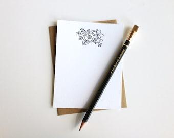Floral Letterpress Notecard Set
