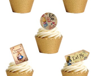 23 Stand Up Vintage Alice In Wonderland LABELS TAG CARDS Edible Wafer Paper Cake Toppers