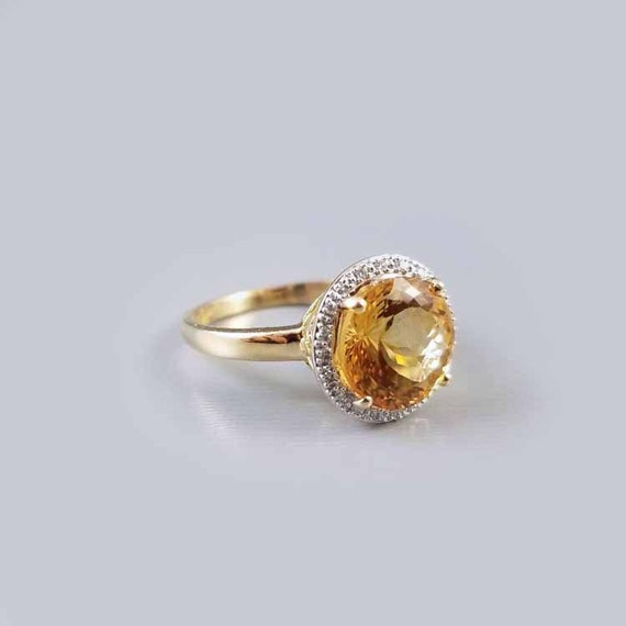 Modern estate 14k gold 3.35 carat citrine and .20 carat diamond halo ring, size 8, cocktail ring, white gold bezel