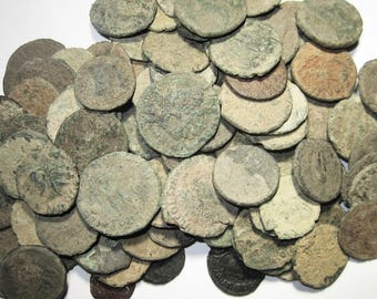 Ten (10) Authentic Roman Coins Unsearched for Cleaning Over 1500 Years Old For One Price - Mixed Sizes