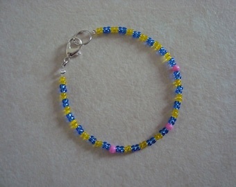 Blue, yellow and pink Princess bracelet