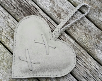 Decorative leather heart, pale grey leather anniversary gift, wedding present, valentines heart