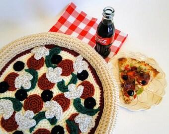 Pizza Pillow Crochet Pattern #602 - Food Crochet Pattern - Amigurumi Crochet Pattern - Instant Download PDF