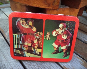Vintage Coca Cola Christmas Playing Cards*Coca Cola Playing Cards*Coca Cola Santa*2 Full Decks in Santa Tin*Holiday Game* Holiday Toy