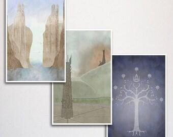 "Lord of the Rings Word Art Print Three Set - 11x17"""