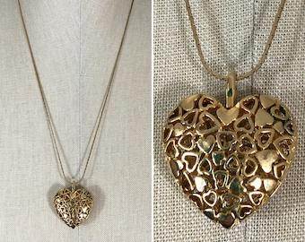 80s Gold 3-D Heart Long Chain Pendant Necklace