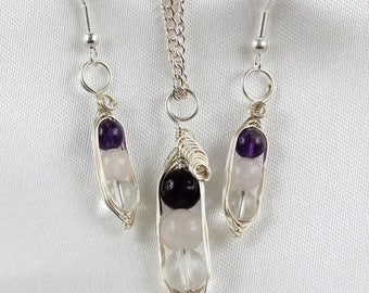 Peas in a Pod Jewellery Set, Pea Pod Necklace, Wire Wrapped Necklace Set, Gemstones in a Pod, 3 Peas in a Pod, Hand Wrap Pendant & Earrings