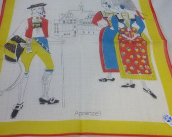 Vintage Mid Century Swiss Made Cotton Souvenir Handkerchief Folk Costumes  Unused
