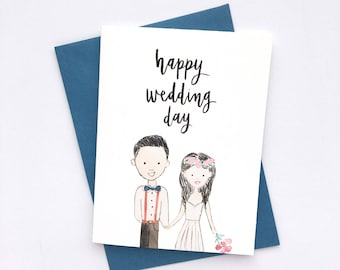 Happy Wedding Day - watercolor brush calligraphy greeting card