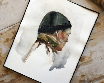 Original Watercolor Self Portrait    Portraiture    Painting    Surrealism    Woman    Master    Outdoors    Folk    Nature    Art