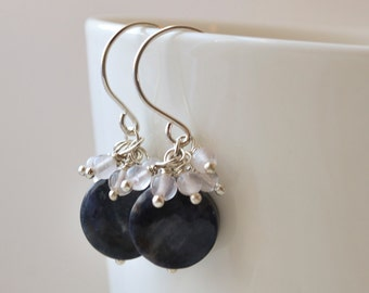 Deep blue dumortierite and  Rose Quartz Cluster Earrings Handmade Wire Wrapped