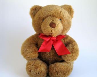 Vintage Dakin Teddy Bear stuffed animal 1980s Toys Red Ribbon Classic Teddy Bear 1989