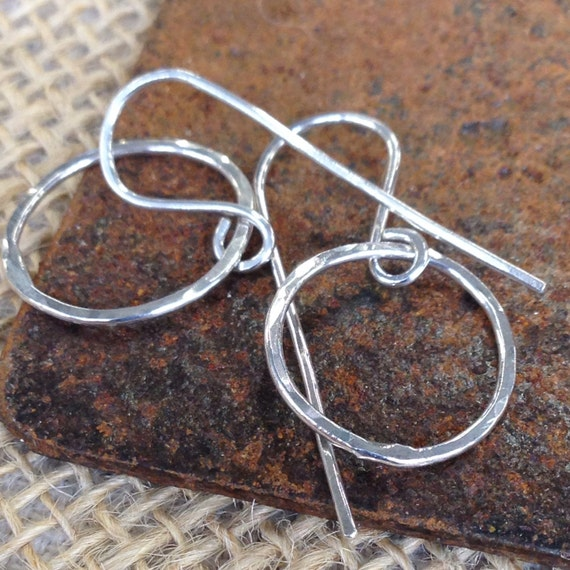 Little Ovals - dangling hoop earrings in bright or oxidized sterling, 14K gold-fill or copper - made to order