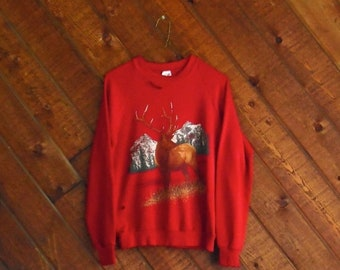 EXTRA 20% OFF SALE.... Red Nature Elk Print Destroyed Sweatshirt - Vintage 90s - Xs S