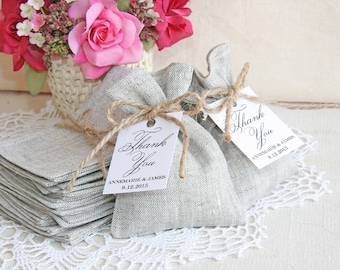 Personalized Linen Favor Bag, Wedding Gift Bag, Natural Rustic Bag, Rustic gift bag, Country wedding, Burlap wedding