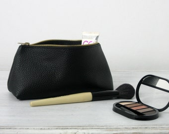 LEATHER POUCH, Pouch Leather, Leather Clutch, Leather Toiletry Bag, Leather Bag, Leather Makeup Pouch, Leather Cosmetic Bag