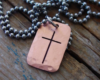 Mens Cross Necklace, Rustic Copper, Mens Cross Pendant, Mens Religious Necklace, Religious Gift, Religious Christian Jewelry, Gifts for Him