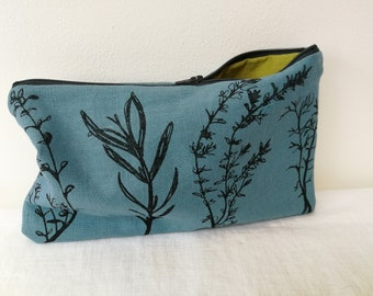 Hand printed, handmade  linen pouch with herb design * Coin purse *  Screen printed pouch * Kvila Design pouch * Herb design * Rosemary
