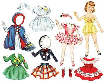 Printable Paper Doll Instant Download Vintage 1950s Reproduction Instant Digital Download