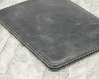 SILVER iPad Pro 10.5 leather sleeve, Antique leather bag, used look, antique leather, pure wool felt, silver-gray leather