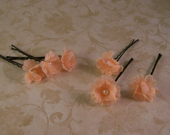 Peach Coral Tangerine Flower Wedding Hair Pins - Small Bridal Flower Bobby Pins - Set of Six