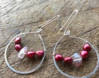 Self Love - Lepidocrocite and Red Pearl 'Glass Half Full' earrings.