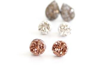 Druzy earrings - stud earrings set - druzy earrings studs - stud earrings set - rose gold druzy earrings - druzy stud earrings - small studs