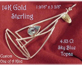 """Sailboat - 14K Gold Sterling Silver 3 3/8"""" Pendant - 4 Ct Sky Blue Topaz - Custom Only 1 Created - Nautical Beach Ocean Boat - FREE SHIPPING"""