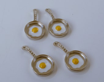 Frying Pan with Enamel Egg Metal Pendants Charms Silver Tone Alloy Jewelry Making Supplies AZ6189 31mmx15mm