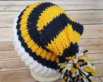 Blue Yellow Slouchy Hat, Michigan Hat, University of Michigan Hat, College Football Hat, Wolverines Beanie Hat, Navy Academy Hat