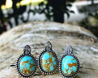 Handstamped Cactus No. 8 Turquoise Ring - Silver Jewelry
