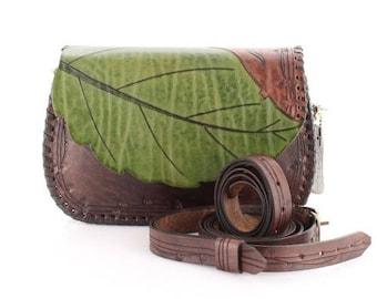 Leaf Pattern Leather Bag
