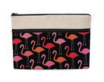 Birds Laptop Sleeve, Flamingo MacBook Case, Bird Laptop Sleeve, Surface Pro Sleeve, Custom Laptop Zipper Pocket - pink flamingos in black