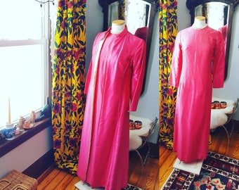 60's 60s 1960s Jackie O Style Raw Silk Hot Pink Fuschia Dress and Jacket Set Suit Formal Long Special MOB Gown Bridal Wedding Vintage