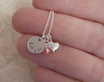 Tiny Name necklace - Birthstone and tiny heart necklace - Dainty sterling silver,  tiny name disc - Photo NOT actual size