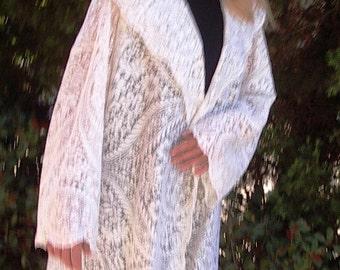 Vintage English Nottingham Cotton Lace New Coat  Sz.M/L Item #653 Resort/ Summer Apparel