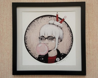 Giclee print by Andy McCready - 'RAMONA' - Limited edition, small, punk, Ramones, bubblegum, pink, glasses. Prints by giltandenvy on Etsy.