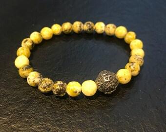 Tibetan prayer beads made of stainless steel and yellow Jasper beads