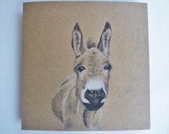 Hand Drawn Card, Cute Donkey, Original Artwork Greeting Card, Farm animal Note Card, Animal Thank you, Birthday for Friend, Animal lover