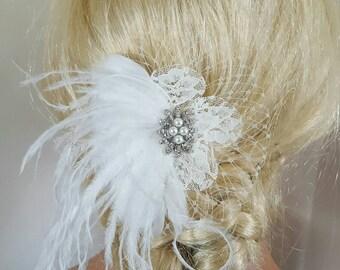 Off White Hair Clip, Wedding Hair Clip, Wedding Hair Accessories,Bridal Fascinator,Feather Hair Clip,Wedding Bridal Comb, Off White Comb