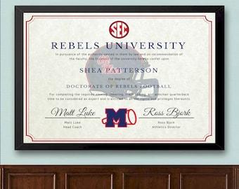 Ole Miss Rebels Football Fan Diploma