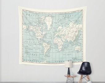 World Map Wall Tapestry  - vintage map, dorm room decor,  Blue and cream beautiful map, travel decor, wall decor, den, bedroom, library