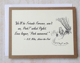 SET OF 4 Friends Forever - Winnie the Pooh Quote - Classic Piglet and Pooh Note Card Cream On Kraft Brown