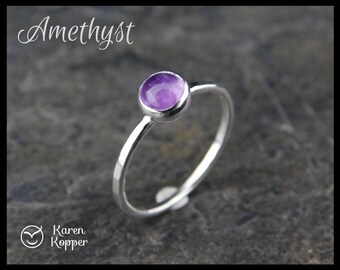 Size 5.5 ready to ship - Amethyst Skinny sterling silver ring, 5mm stone, hammered, 1.2 mm ring. Skinny ring, thin ring, stacking ring. 119