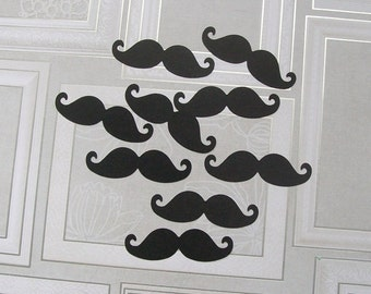 100 Black Mustache Die Cuts - Mustache Confetti - Lil Man Party - Baby Shower - Birthday Party - DIY Photo Booth Props - Cut Out