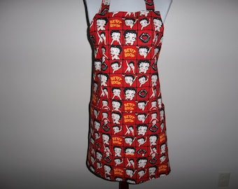Betty Boop Apron, Full Womens Aprons, Novelty Apron, Reversible, Front Pocket, Adjustable Neck Band, Chefs Apron, Handmade, Hostess Gift