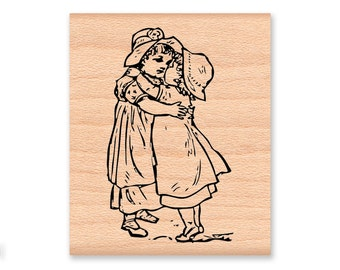 BEST FRIENDS Rubber Stamp~Thank You~Thinking of you~Sisters~Little Girl Friends ~Hugs and Kisses~Young Girls~ wood mounted stamp (21-14)